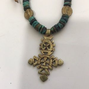 Turquoise and Ethiopian cross necklace.